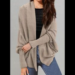 V-Neckline   Casual Oversized Long Shift Sweaters