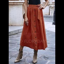 Mid-Calf Casual Buttons Sashes Skirts