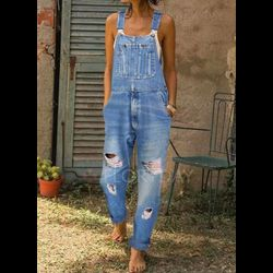 Casual Loose High Waist Polyester Jumpsuits Jeans Pants