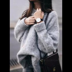 Round Neckline   Casual Oversized Loose Regular Shift Sweaters