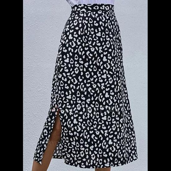 Leopard Mid-Calf Casual Skirts