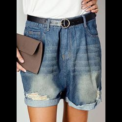 Casual Loose High Waist Polyester Shorts Jeans Pants