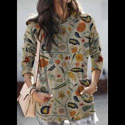 Hooded Floral Casual Loose Regular Pockets Sweaters