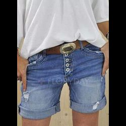 Casual Loose High Waist Polyester Shorts