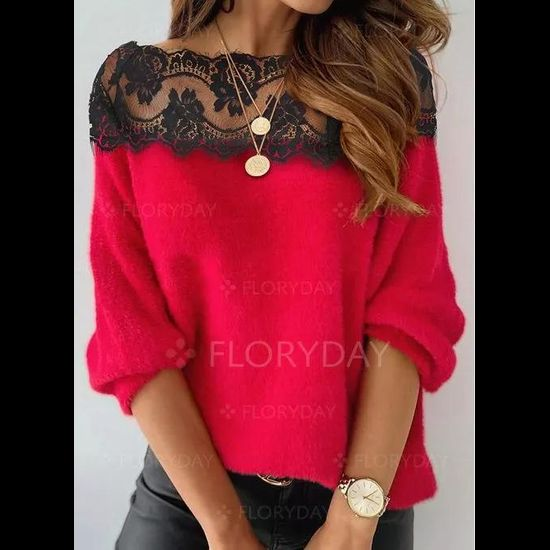 Boat Neckline Floral Casual Loose Regular Lace Sweaters