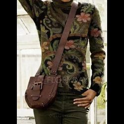 High Neckline Floral Casual Tight Regular X-line Sweaters