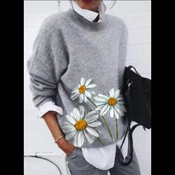 Round Neckline Floral Casual Regular Shift Sweaters