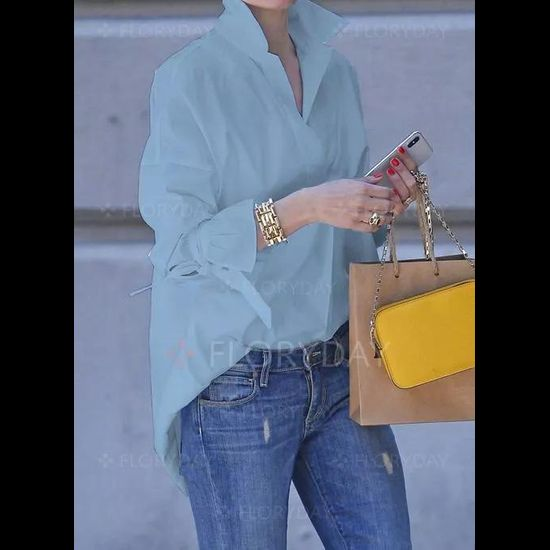 Casual Stand Collar Long Sleeve Blouses