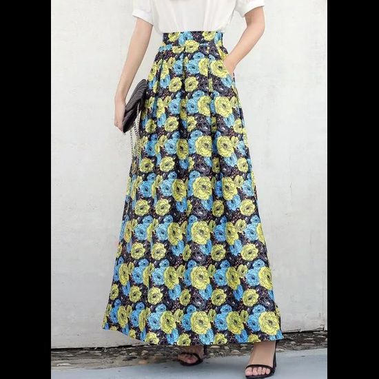 Floral Maxi Casual Pockets Skirts