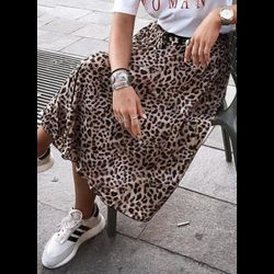 Leopard Knee-Length Casual Skirts