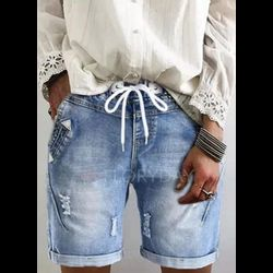 Casual Loose Mid Waist Polyester Shorts Jeans Pants