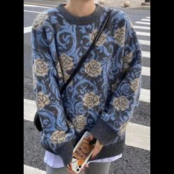 Round Neckline Floral Casual Oversized Regular Shift Sweaters