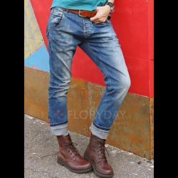Casual Straight Mid Waist Polyester Jeans Pants